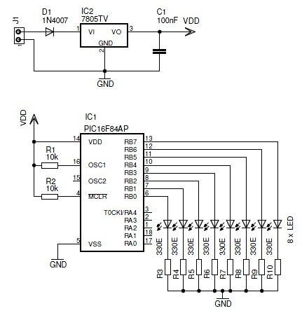 Schematic design with the PIC16F84A microcontroller Schematic