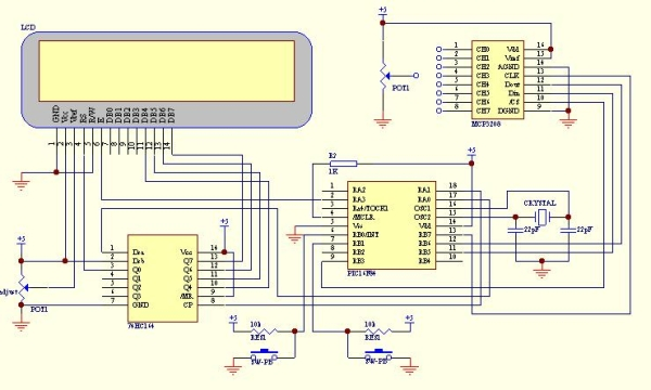 Serial interfacing LCD with Pic Microcontroller Schematic