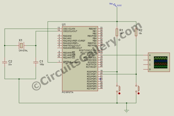[Simple] Generating Pulse Width Modulation using PIC Microcontroller – Mikro C & Proteus Simulation Schematic