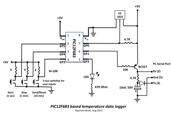 Single Chip Temperature Data Logger Schematic