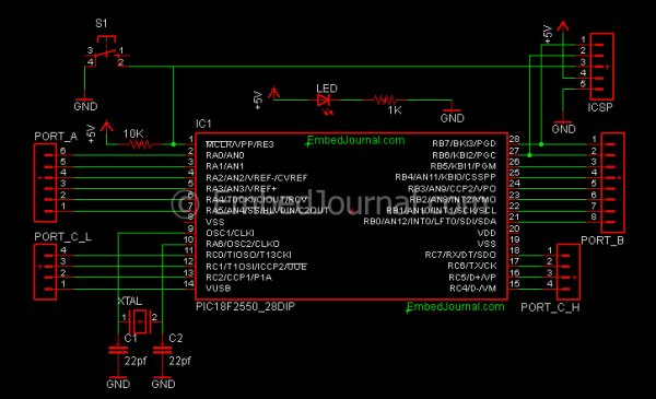 Standalone BreadBoard Breakout for PIC Microcontrollers schematic
