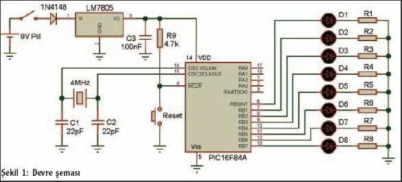 Text in the air with PIC16F84 Schematic
