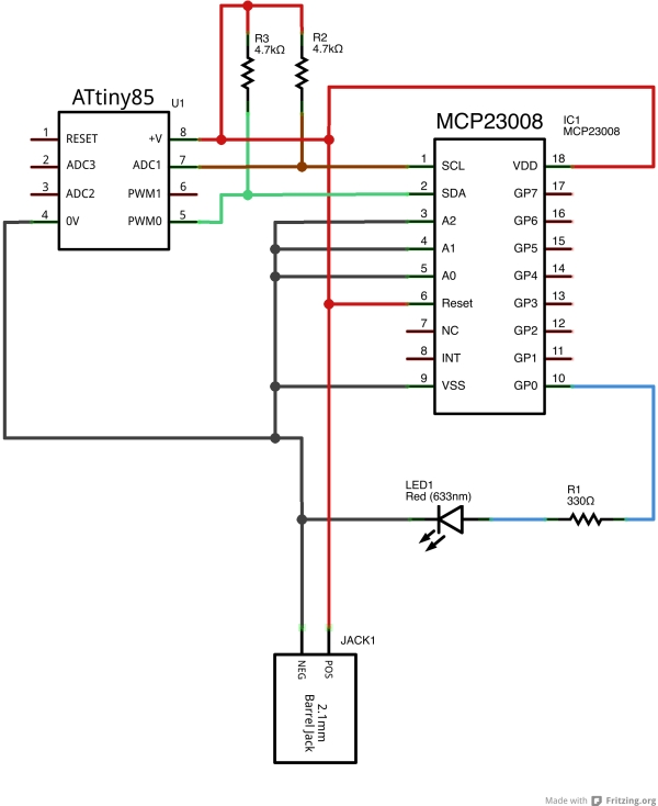 TinyWireMCP23008 - MCP23008 library for ATtiny85 microcontroller Schematic