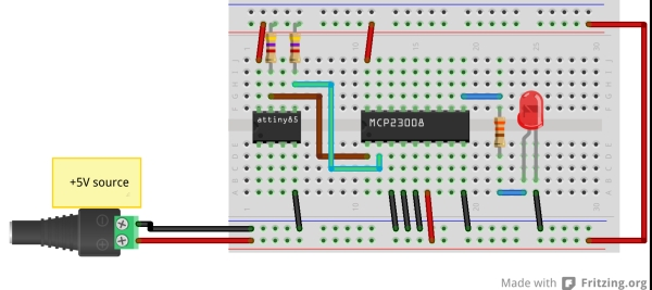 TinyWireMCP23008 - MCP23008 library for ATtiny85 microcontroller