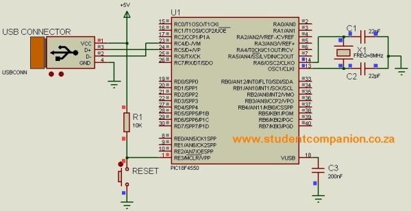 USB Human Interface Device Communication with PIC Microcontroller - MikroC Schematic
