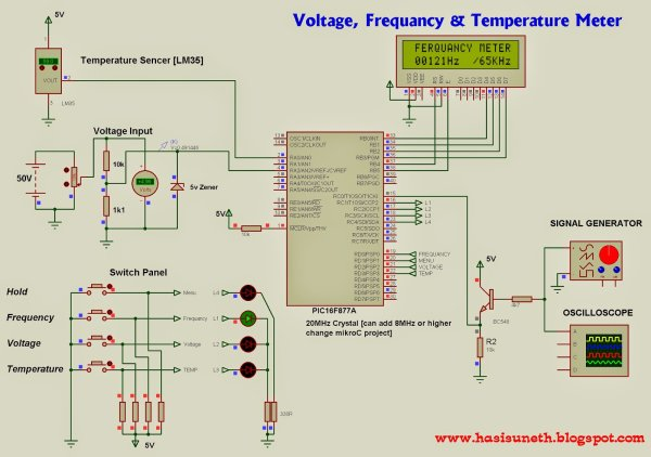 Voltage, Temperature & Frequency Meter With PIC Micro controller schematic