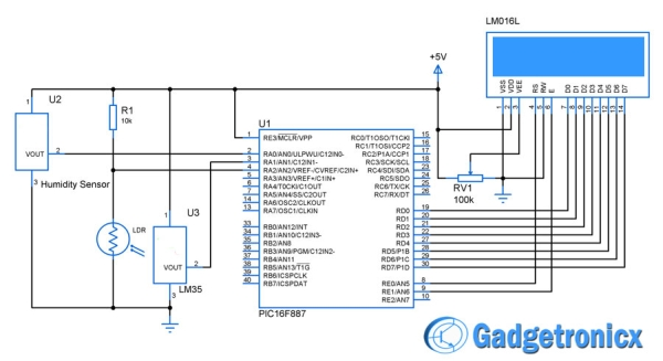Weather meter using PIC 16F877 Microcontroller Schematic