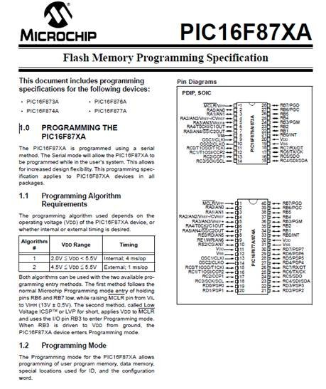 Flash memory programming specification