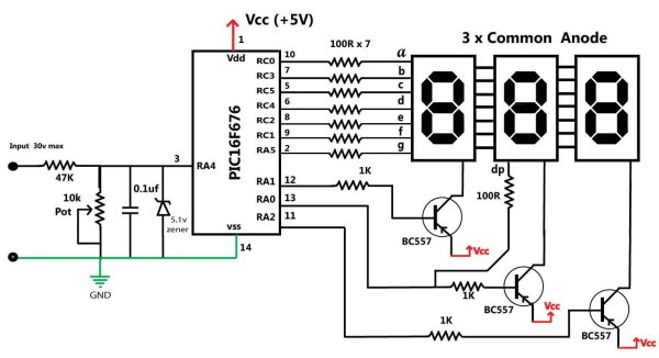 30 volts Panel Volt Meter Using PIC MCU schematic