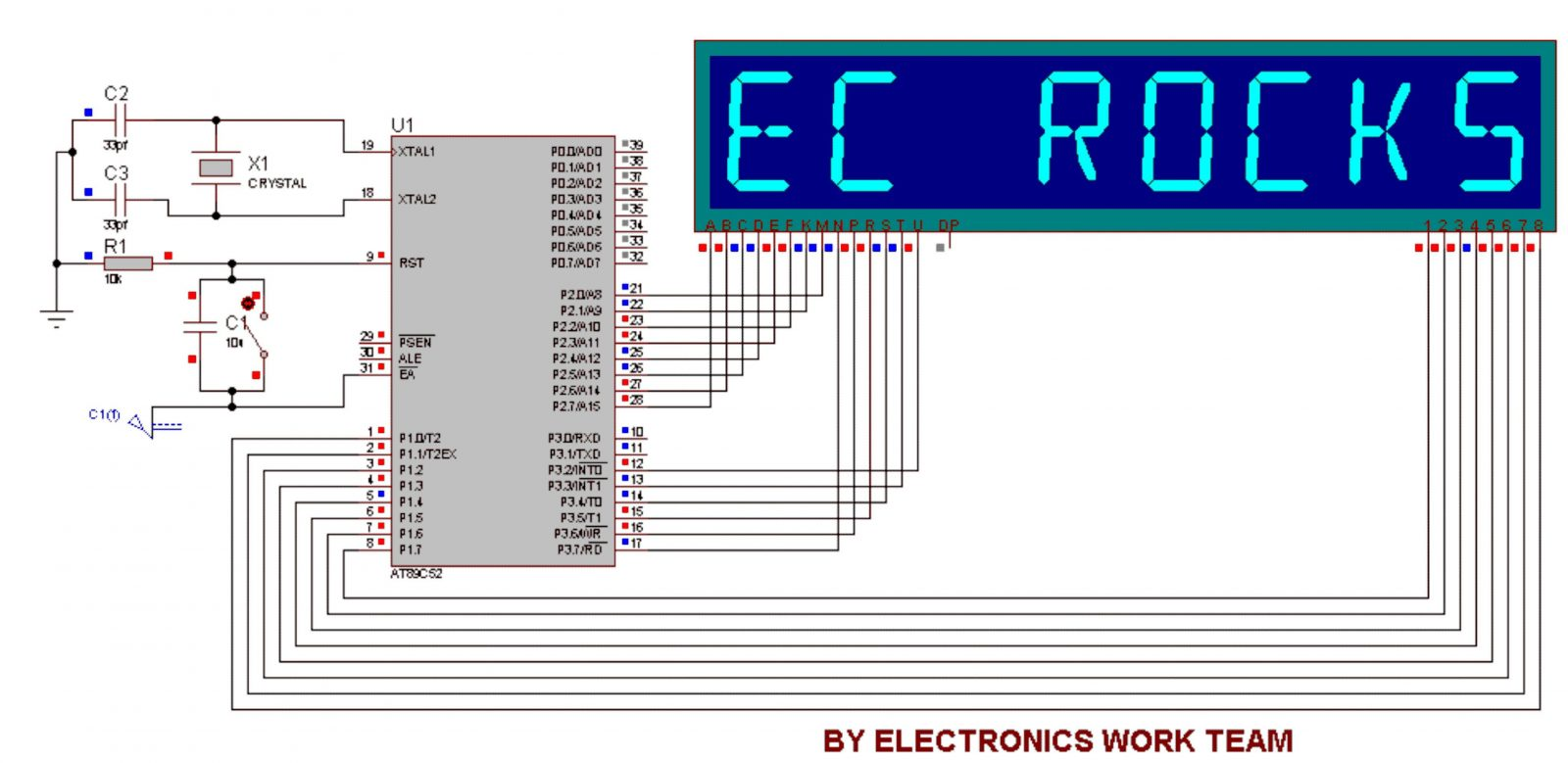 8051 microcontroller These are basic projects and are best for beginner level programmers if you are new to 8051 microcontroller then first read these projects these all projects contain complete codes as well as the proteus simulation so you can quite easily test them in proteus software and can edit the codes and learn from it.