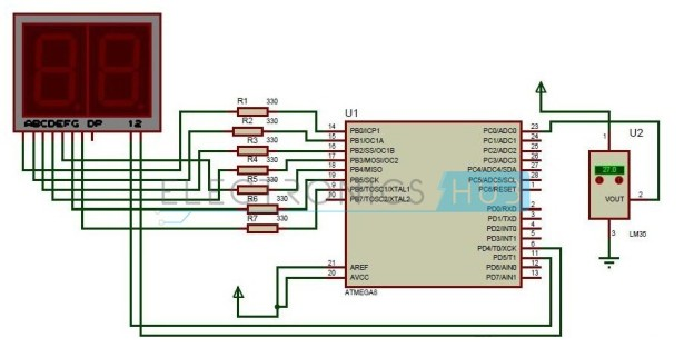 Digital Temperature Sensor Circuit schematic