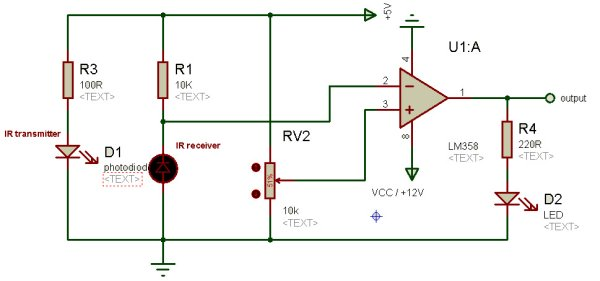 IR Sensor Circuit and Interfacing with PIC Microcontroller schematic
