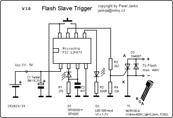 A Programmable Optical Slave Flash Trigger for Digital Cameras with Processor PIC 12F675 schematich