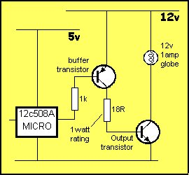 A discussion on the drive-current for the outputs of a PIC12C508A microcontroller schematich