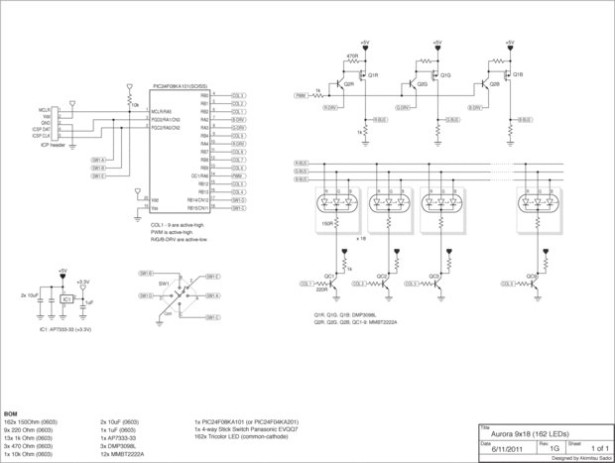 Aurora 9x18 RGB LED art schematic
