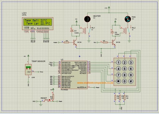 Automatic Temperature Control System using PIC Microcontroller XC8 schematich