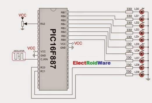 Connect ADC with PIC16F877 schematich