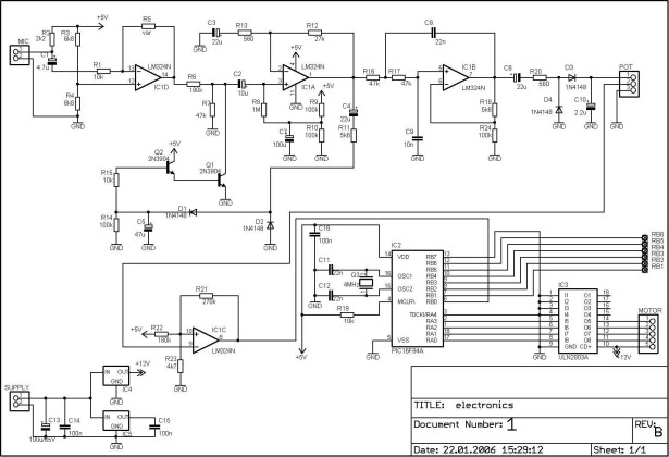 Discolight effect with bass beat control using PIC16F84A schemativh