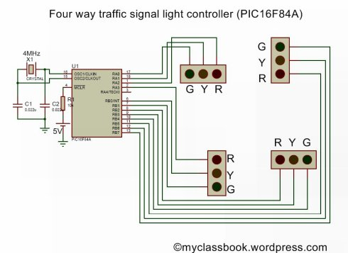 Four way traffic light signal using PIC16F84A microcontroller schematic
