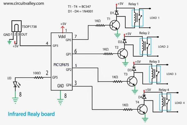 IR(infrared) Remote Control Relay Board with PIC 12F675 Microcontroller schematic