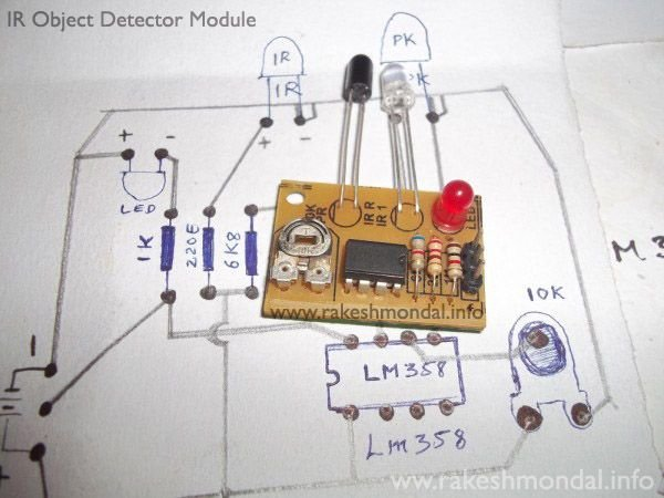 Infrared  Object Detection Module Circuit Using IR LED and Photodiode