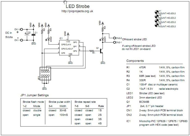 LED Strobe for PIC12F629 675 schematic