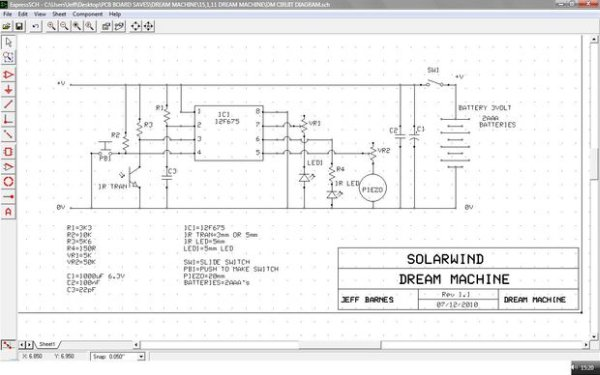Lucid Dream Dream Recall Machine using infrared schematic