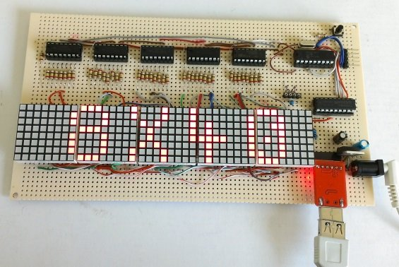 Making a 8×40 LED matrix marquee using shift registers
