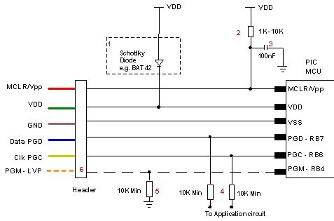 Microchip PIC Programmer ICSP Circuit Requirements schematich
