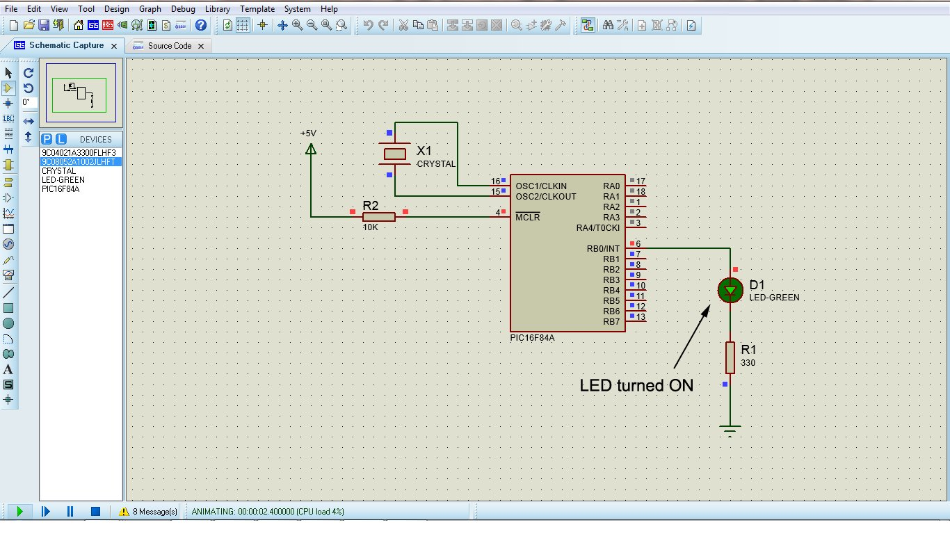 Microcontroller with single LED Project in Proteus schematic