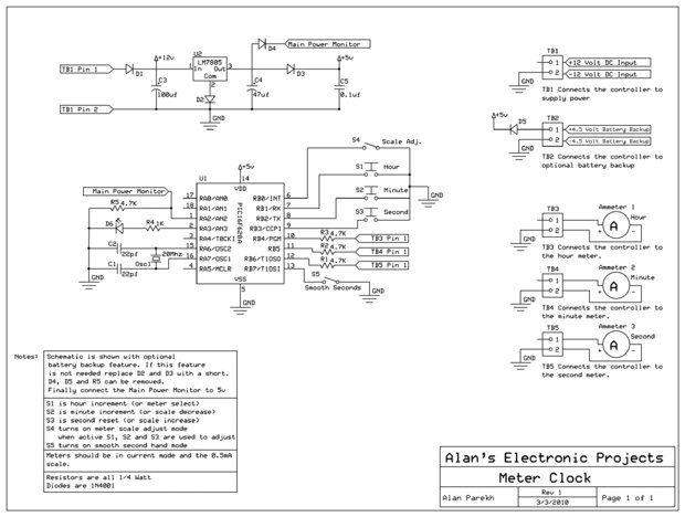 Multimeter Clock schematic