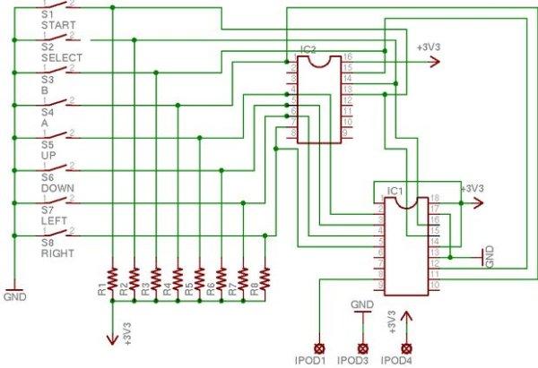 NES Controller iPod Remote schematic