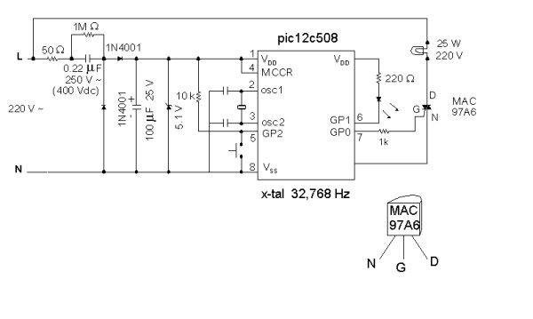 Night Light Saver V3.2 (PIC12C508) schematich