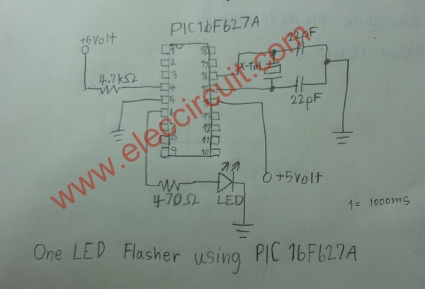 PIC microcontroller led flasher circuit using PIC16F627A schematich