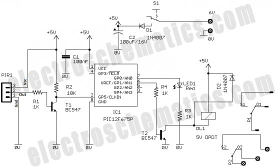 PIC12F675 Microcontroller Based Security Alarm Circuit schematich