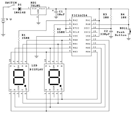PIC16C54 dual dice electronic project circuit schematic