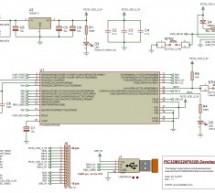 Self-made development board for the 32-bit PIC32MX220F032B Microcontroller