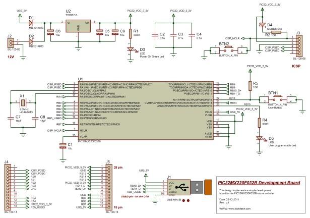 Self-made development board for the 32-bit PIC32MX220F032B Microcontroller schematich