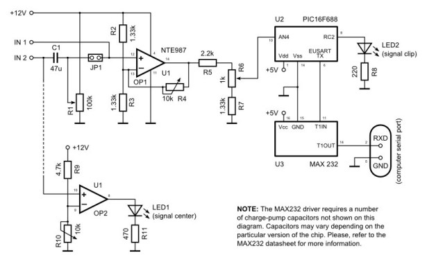 Serial Data Logger with PIC microcontroller schematich
