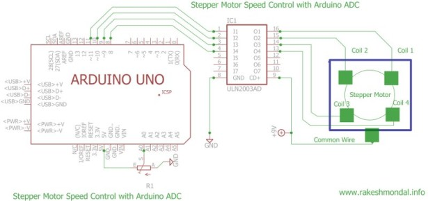 Stepper Motor Speed Control with PIC18F4550 schematich