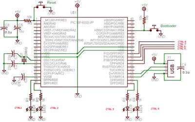 USB Interface Board Tutorial Using PIC18F4550 schematich
