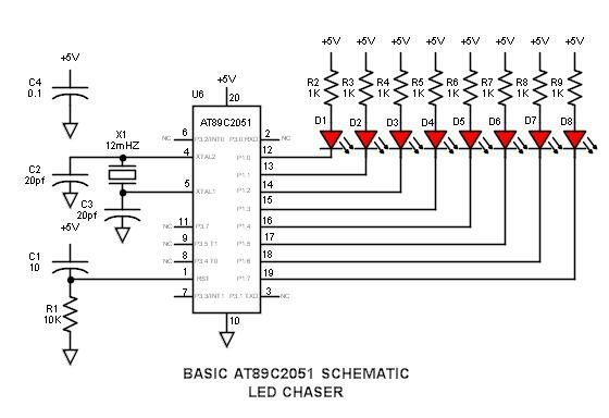 8051 Microcontroller Overview & Hardware – Tutorial #1 schematic