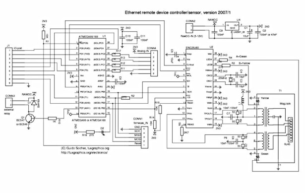 An AVR microcontroller based Ethernet device schematic
