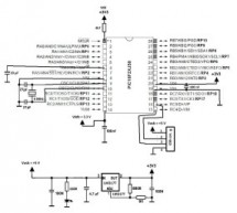 Basic circuit for PIC18F24J50 or PIC18F26J50 to work over USB