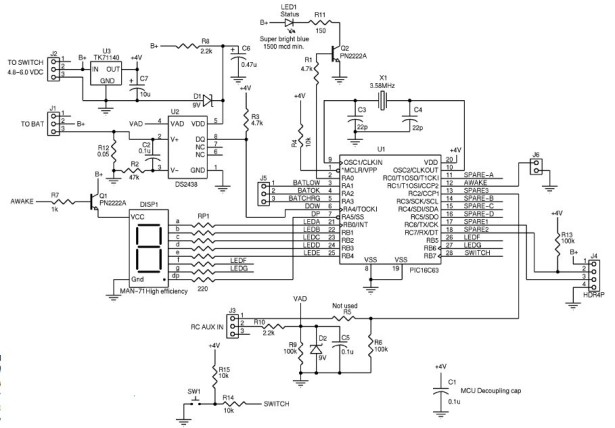 DIY, Microcontroller-Based Battery Monitor for RC Aircraft schematic