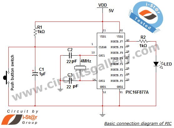 Getting started with PIC Microcontroller Programming schematic