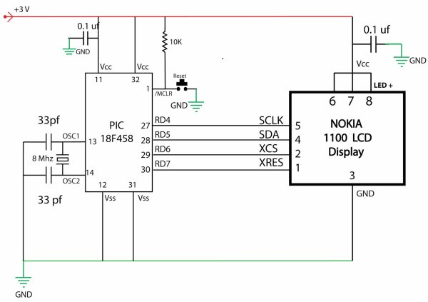 Nokia 1100 LCD Interfacing with Microcontroller schematic