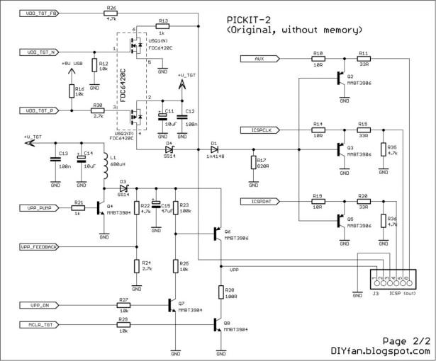Original PICKIT-2 microcontroller programmer schematic