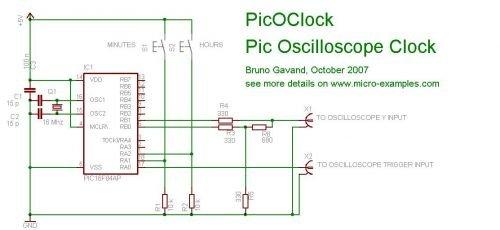PIC Based Oscilloscope Clock schematic
