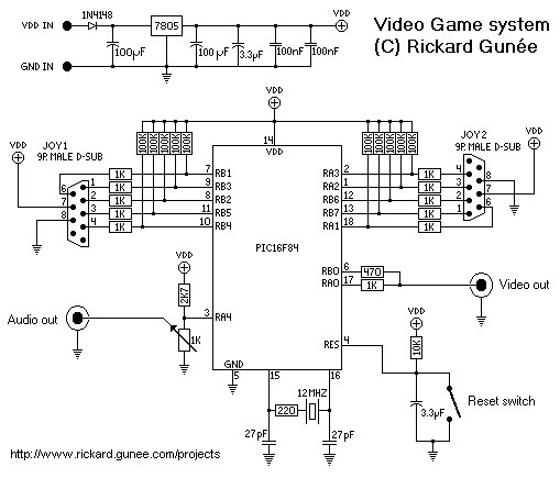 PIC Game System schematic